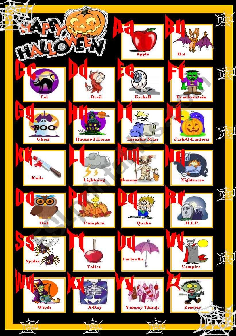 Happy Halloween Abc - Esl Worksheetsolnechnaya