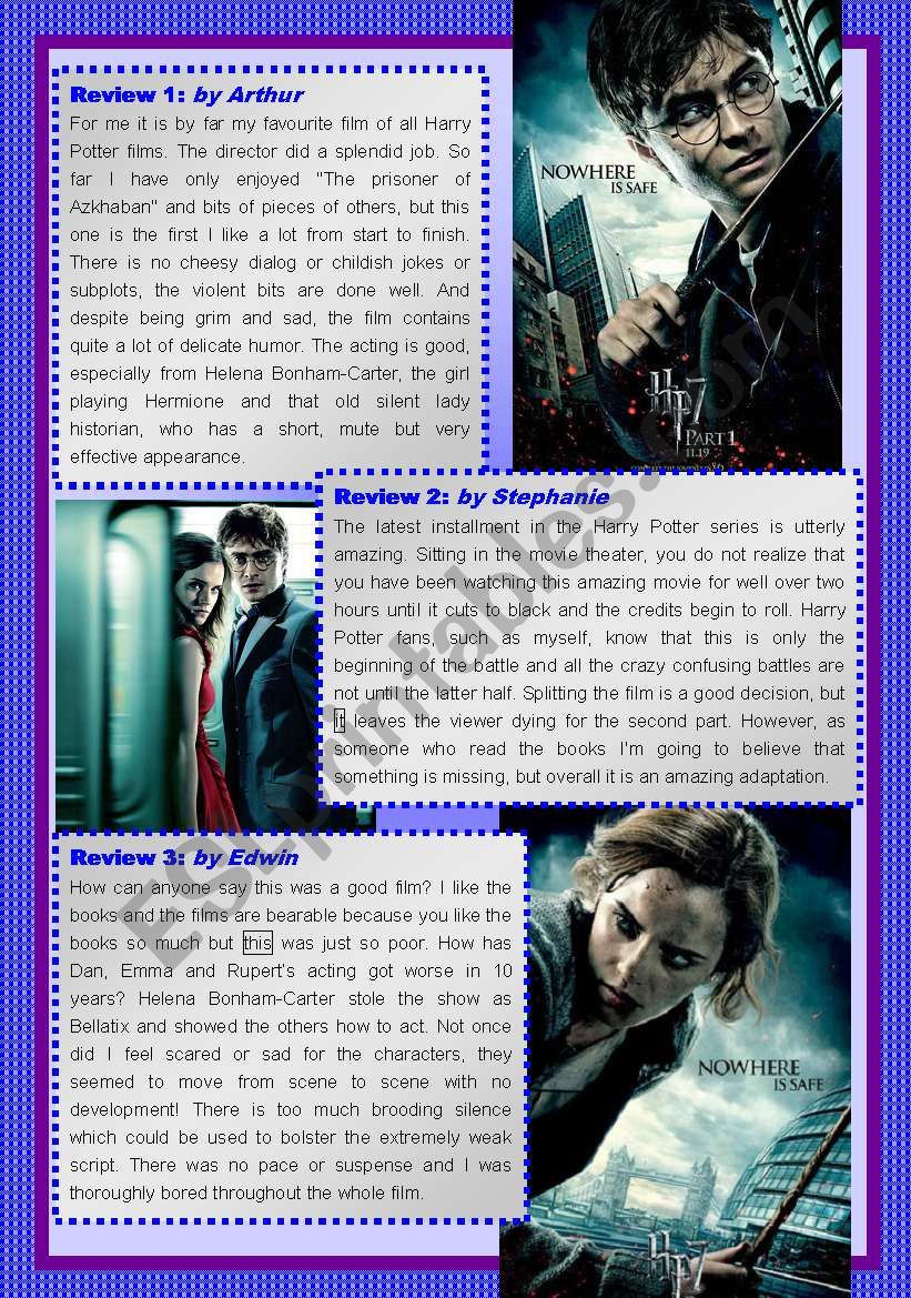 Harry Potter And And The Deathly Hallows Reading Exercise (4