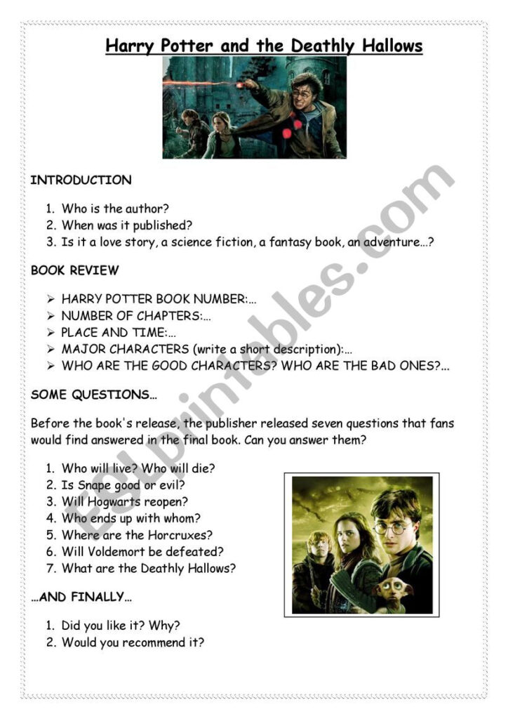 Harry Potter And The Deathly Hallows   Esl Worksheetmggialdi