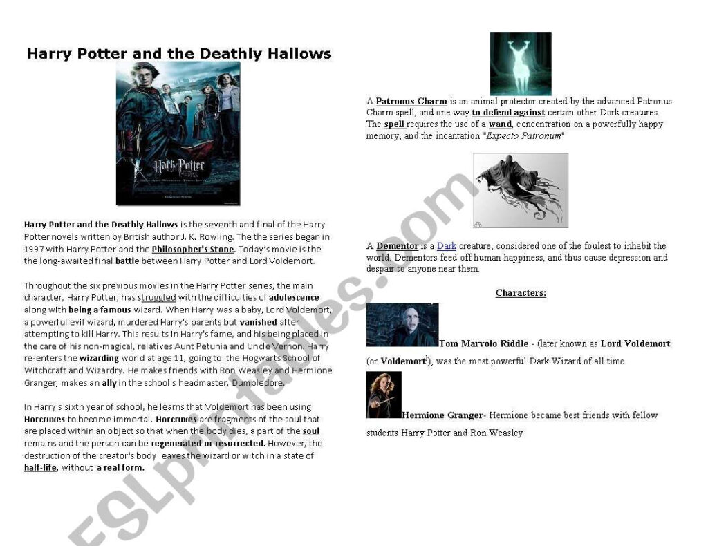 Harry Potter And The Deathly Hallows   Esl Worksheetmmblack