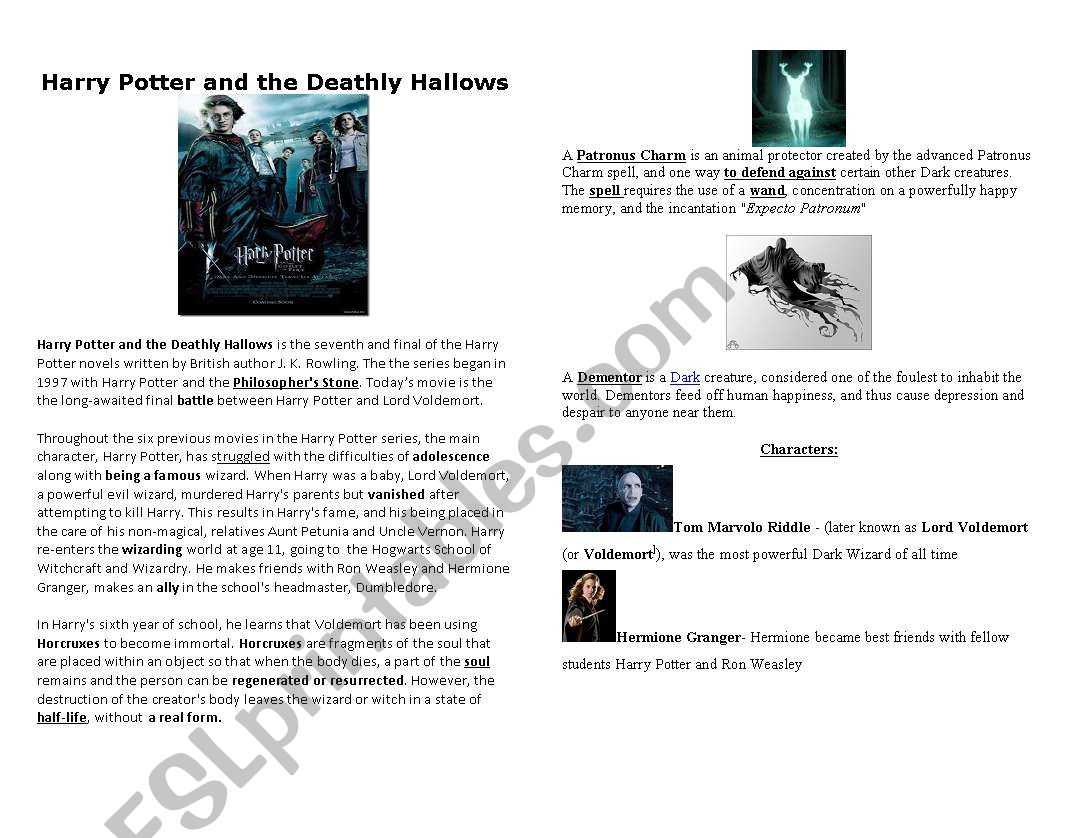 Harry Potter And The Deathly Hallows - Esl Worksheetmmblack