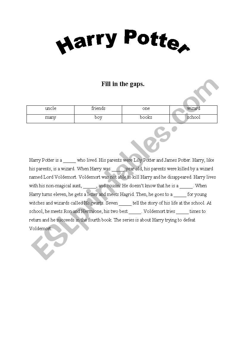 Harry Potter Gap-Fill - Esl Worksheetana12E