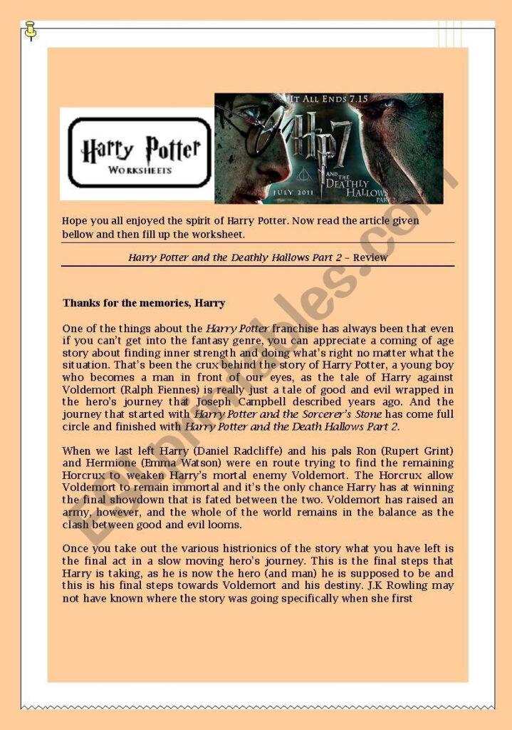 Harry Potter Worksheet Series 1   Esl Worksheetvino76