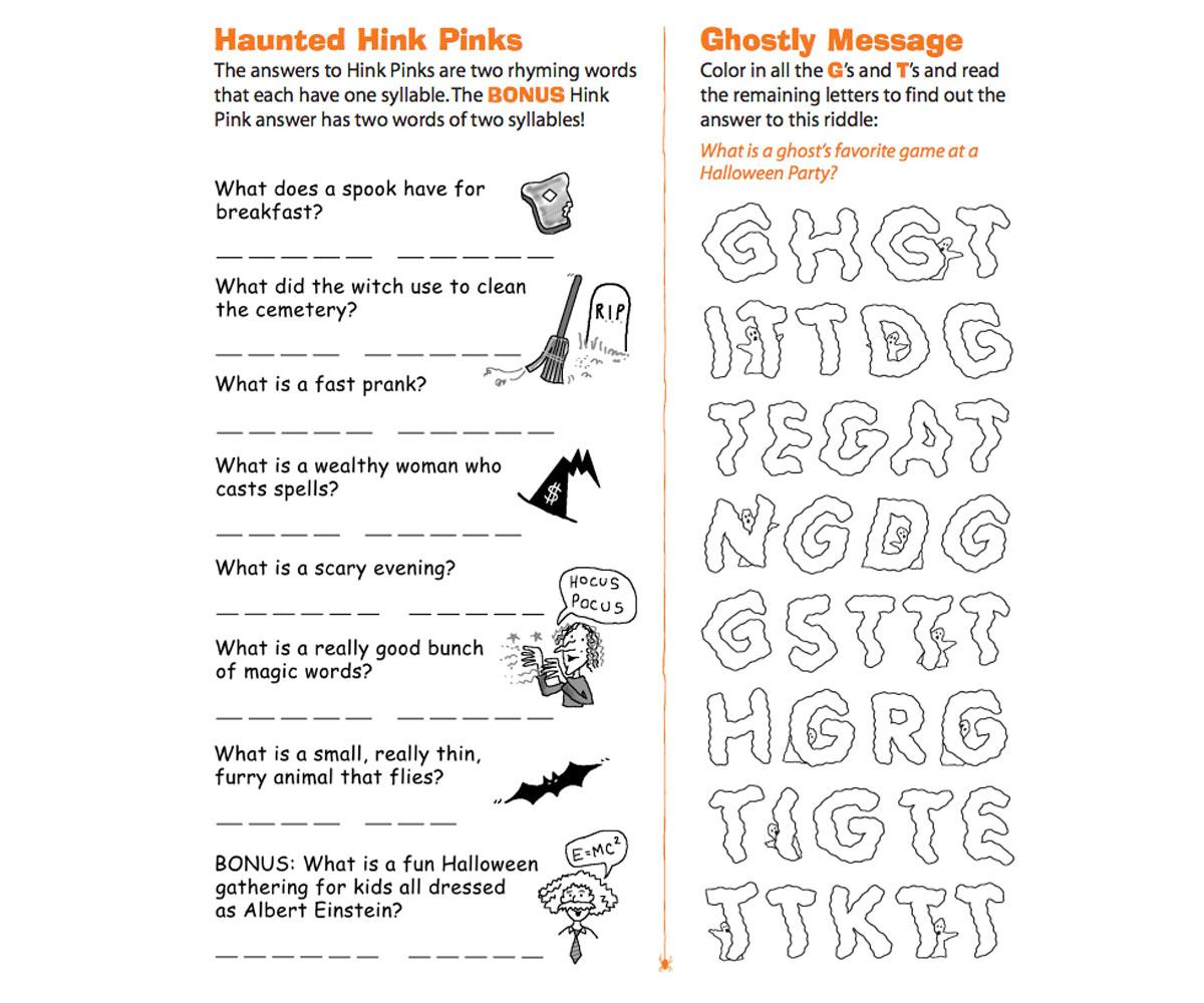 Haunted Hink Pinks Printable - Familyeducation