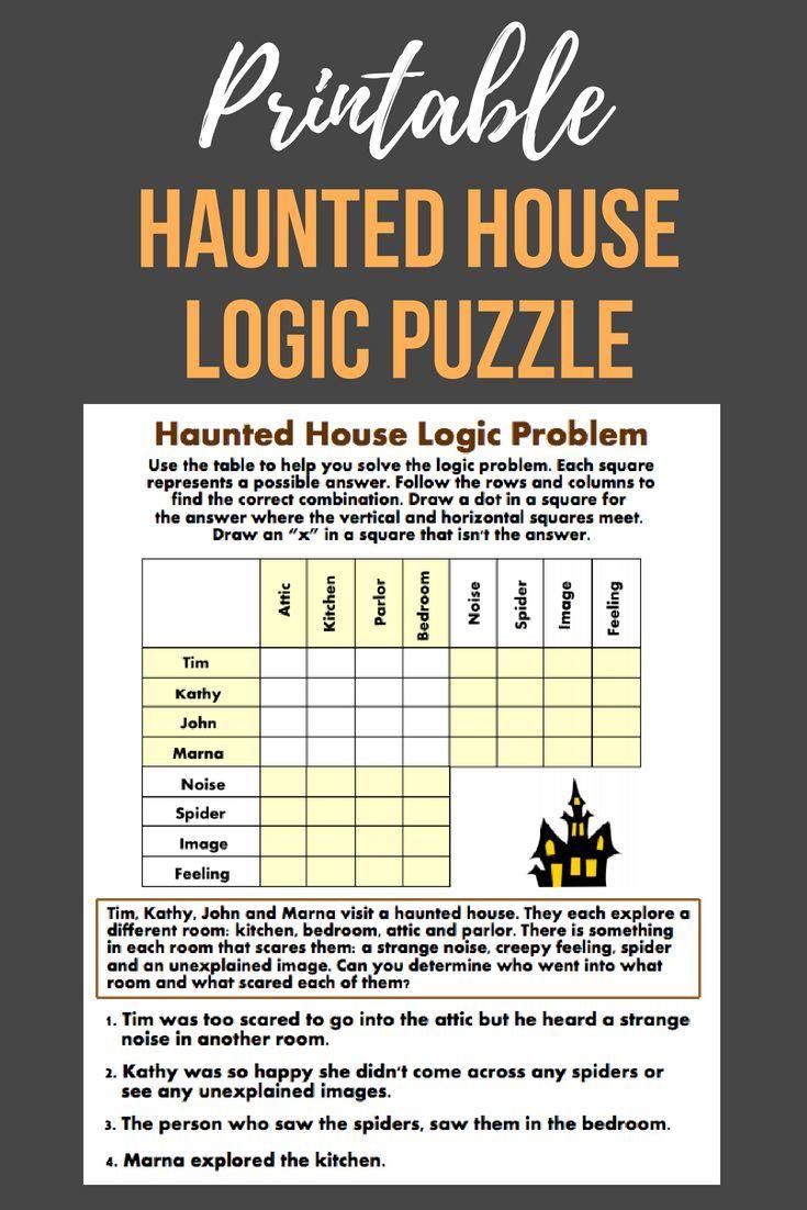 Haunted House Logic Problem | Worksheet | Education