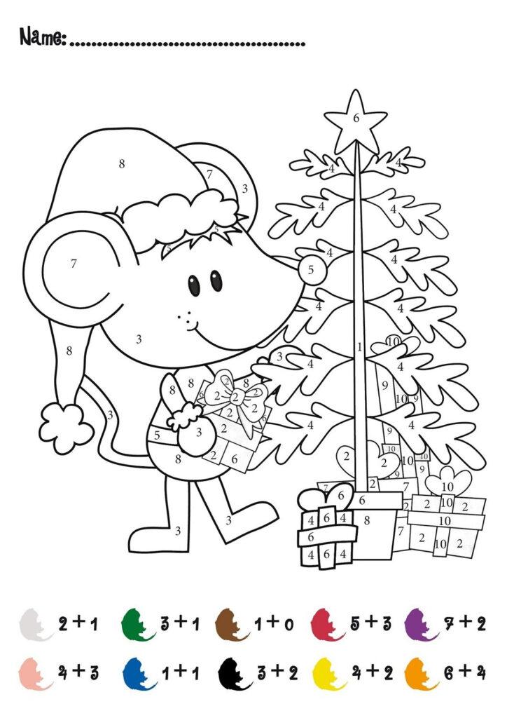 Hidden Colornumber Christmas Math Worksheets Coloring