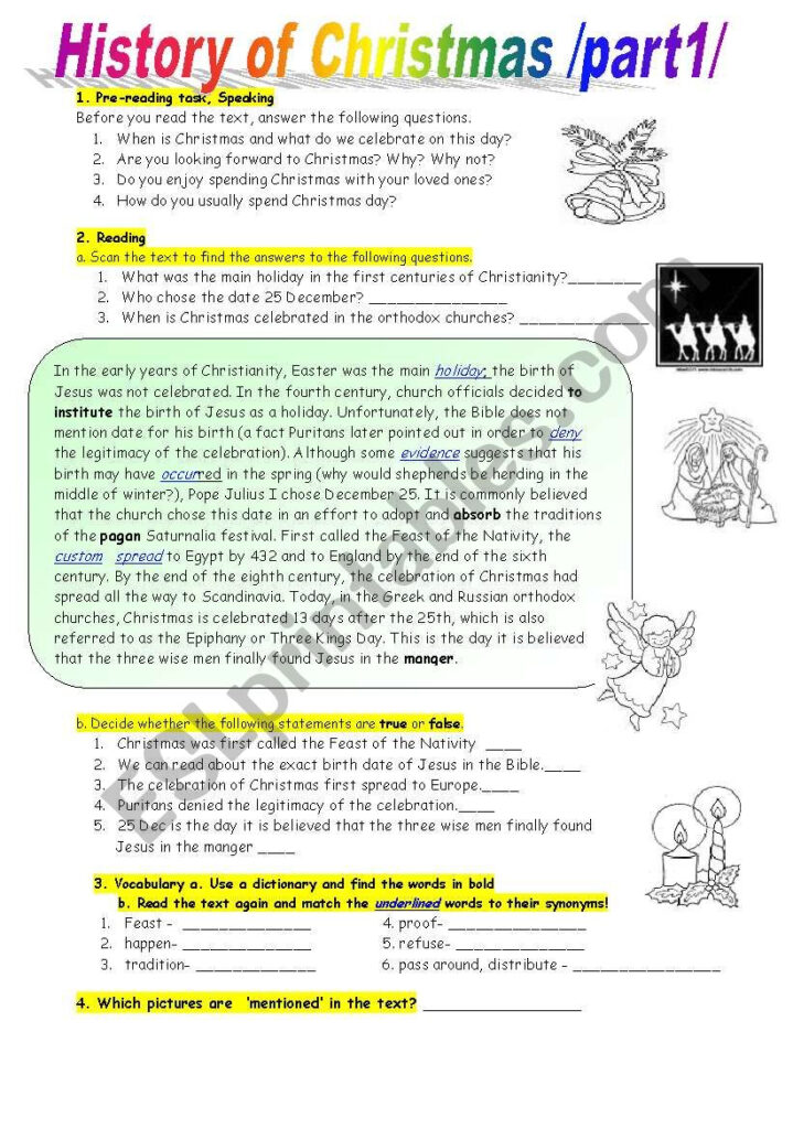 History Of Christmas Reading Comprehension At Intermediate