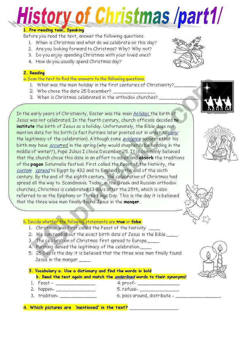 History Of Christmas-Reading Comprehension At Intermediate
