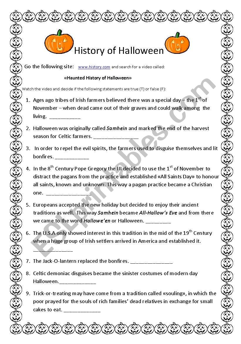 History Of Halloween - Esl Worksheetanyataide