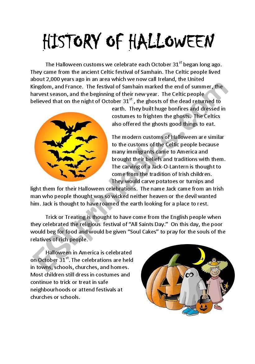 History Of Halloween - Esl Worksheetpunkwillow