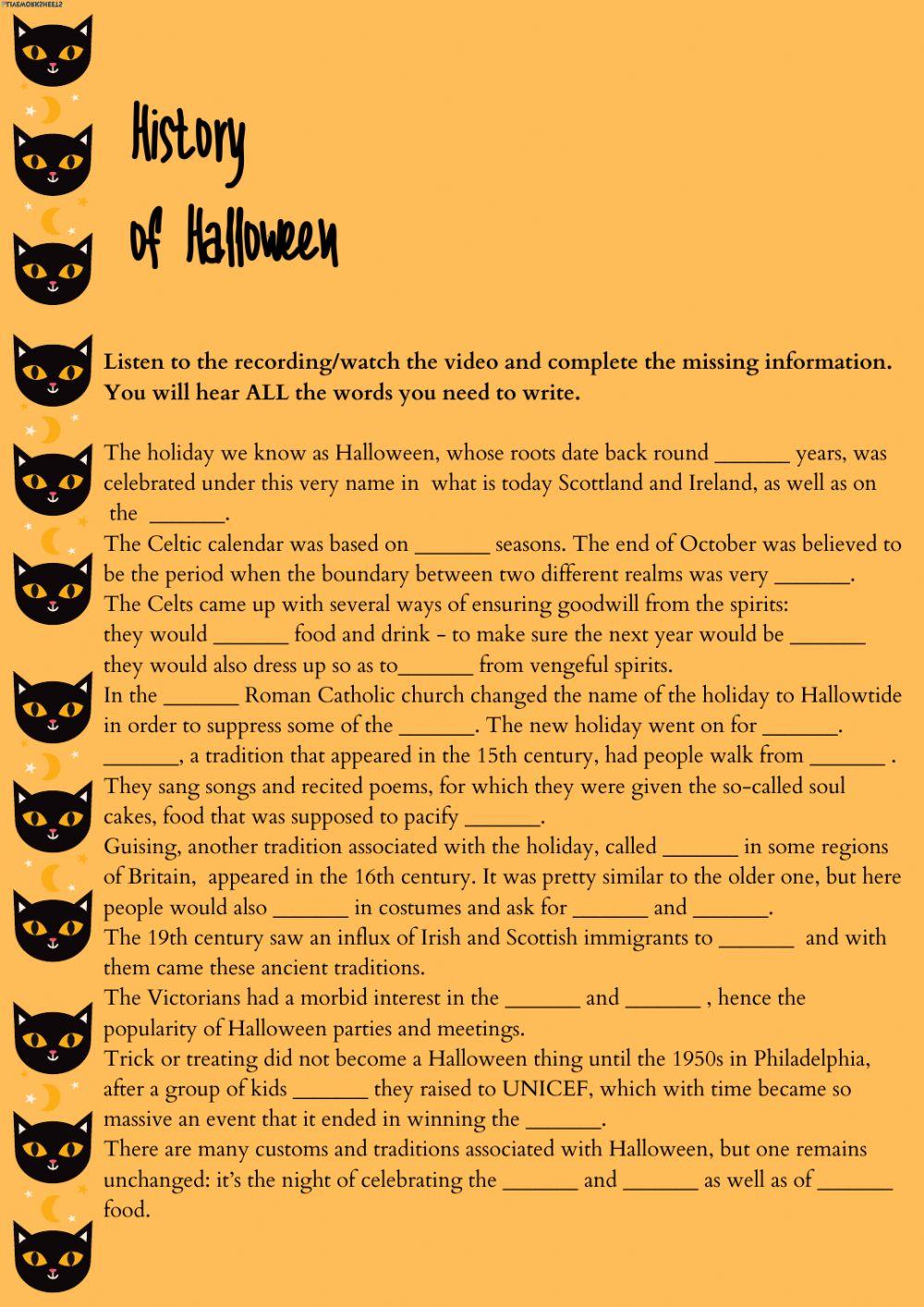 History Of Halloween Worksheet