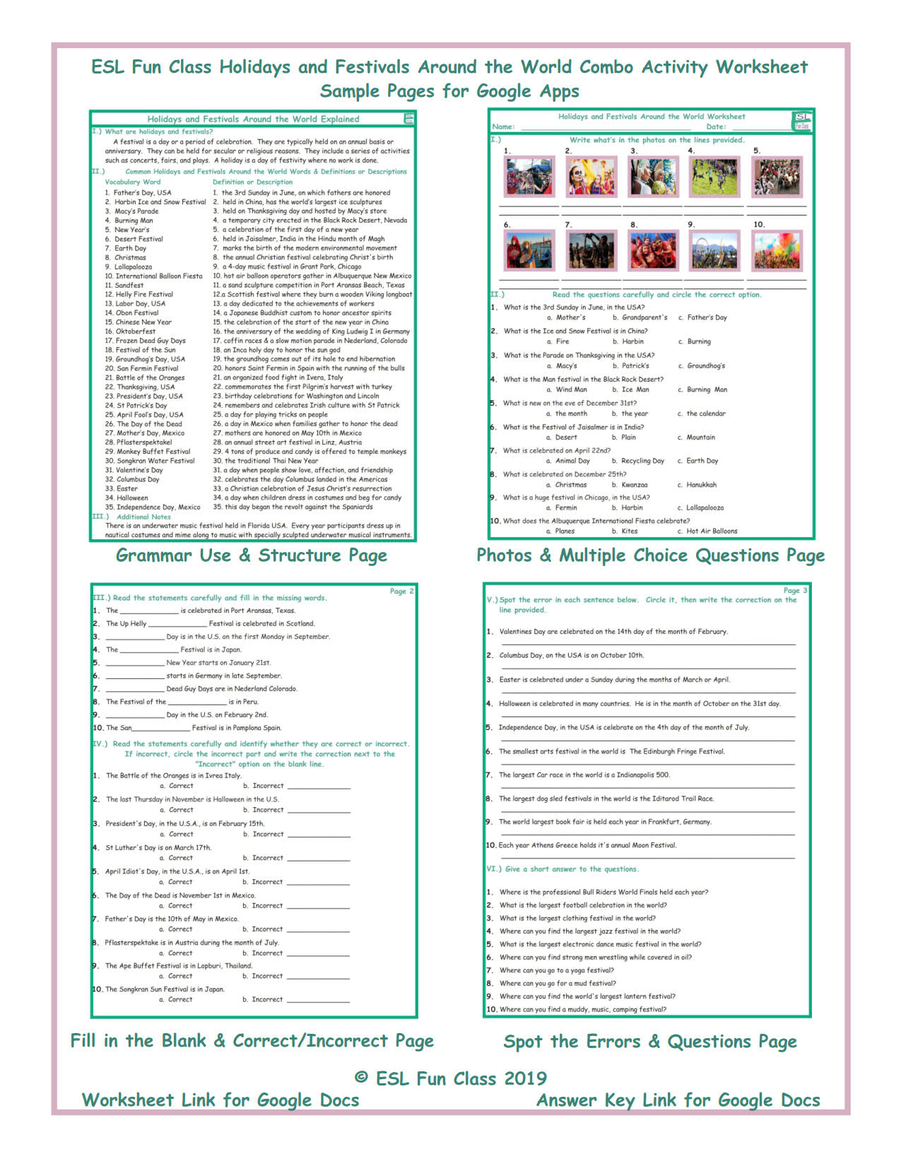 Holidays And Festivals Around The World Interactive Worksheets For Google  Apps