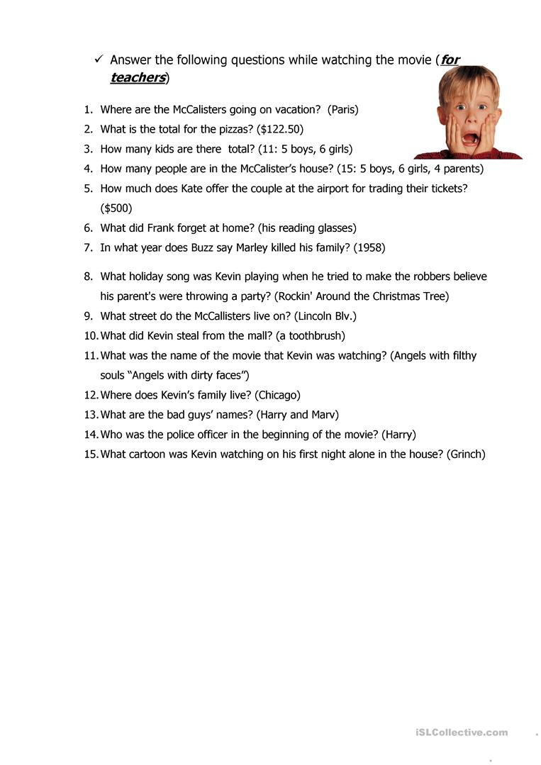 Home Alone - English Esl Worksheets For Distance Learning