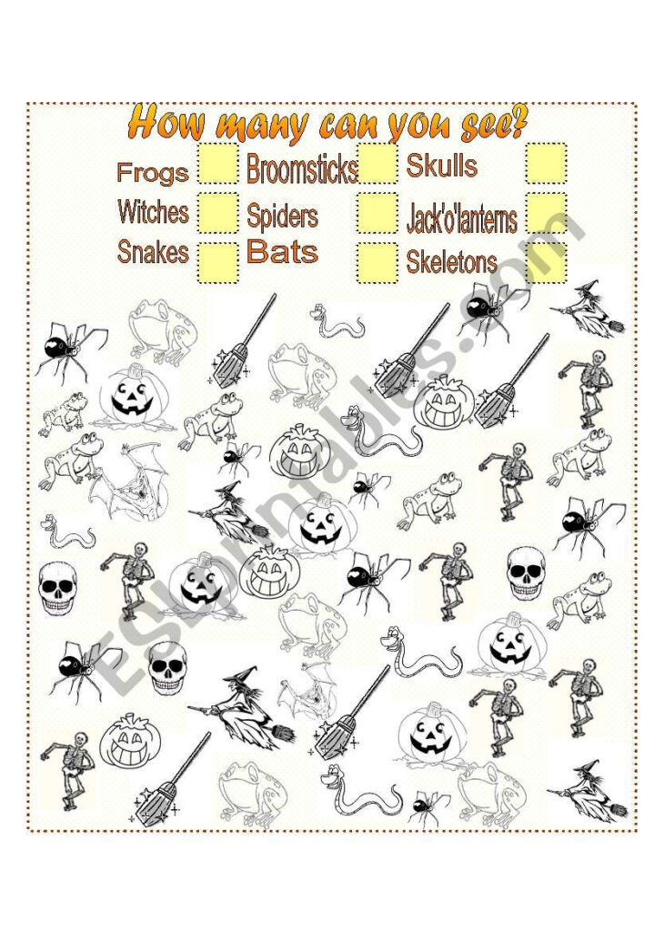 How Many Halloween Pictures Can You See?   Esl Worksheet