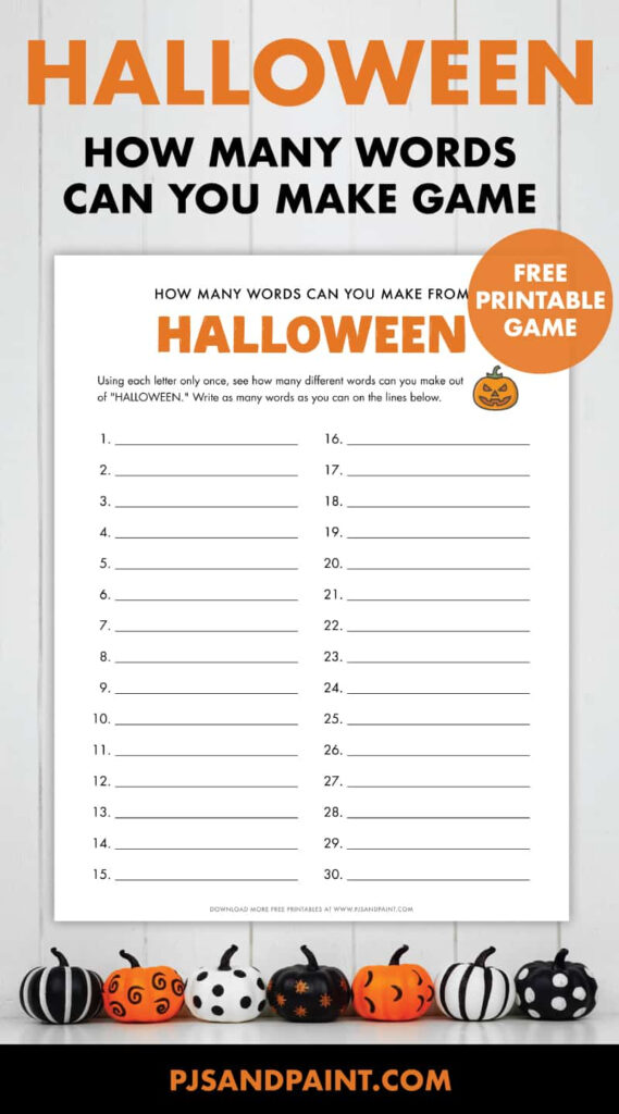 How Many Words Can You Make Out Of Halloween   Free