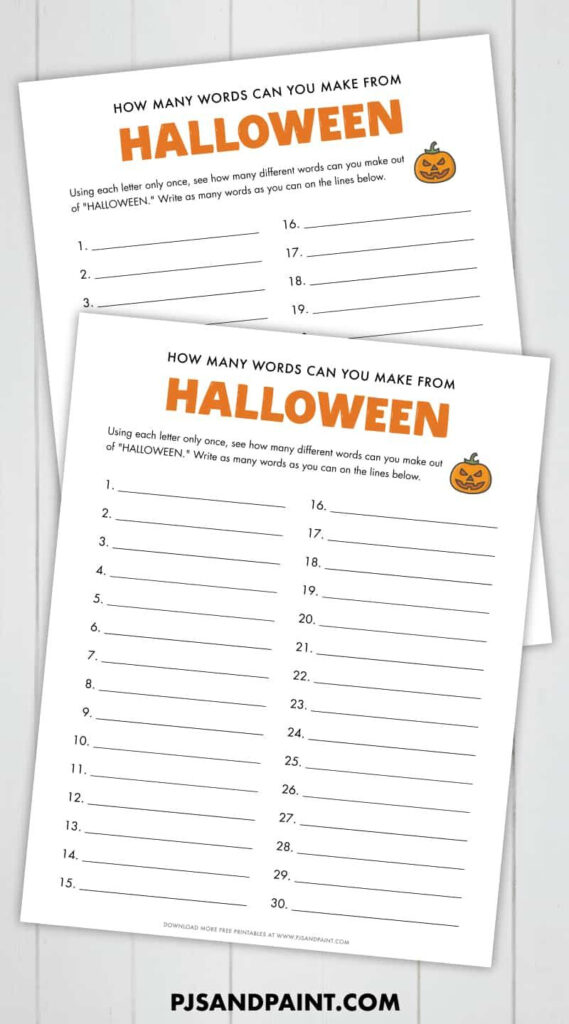 How Many Words Can You Make Out Of Halloween – Free