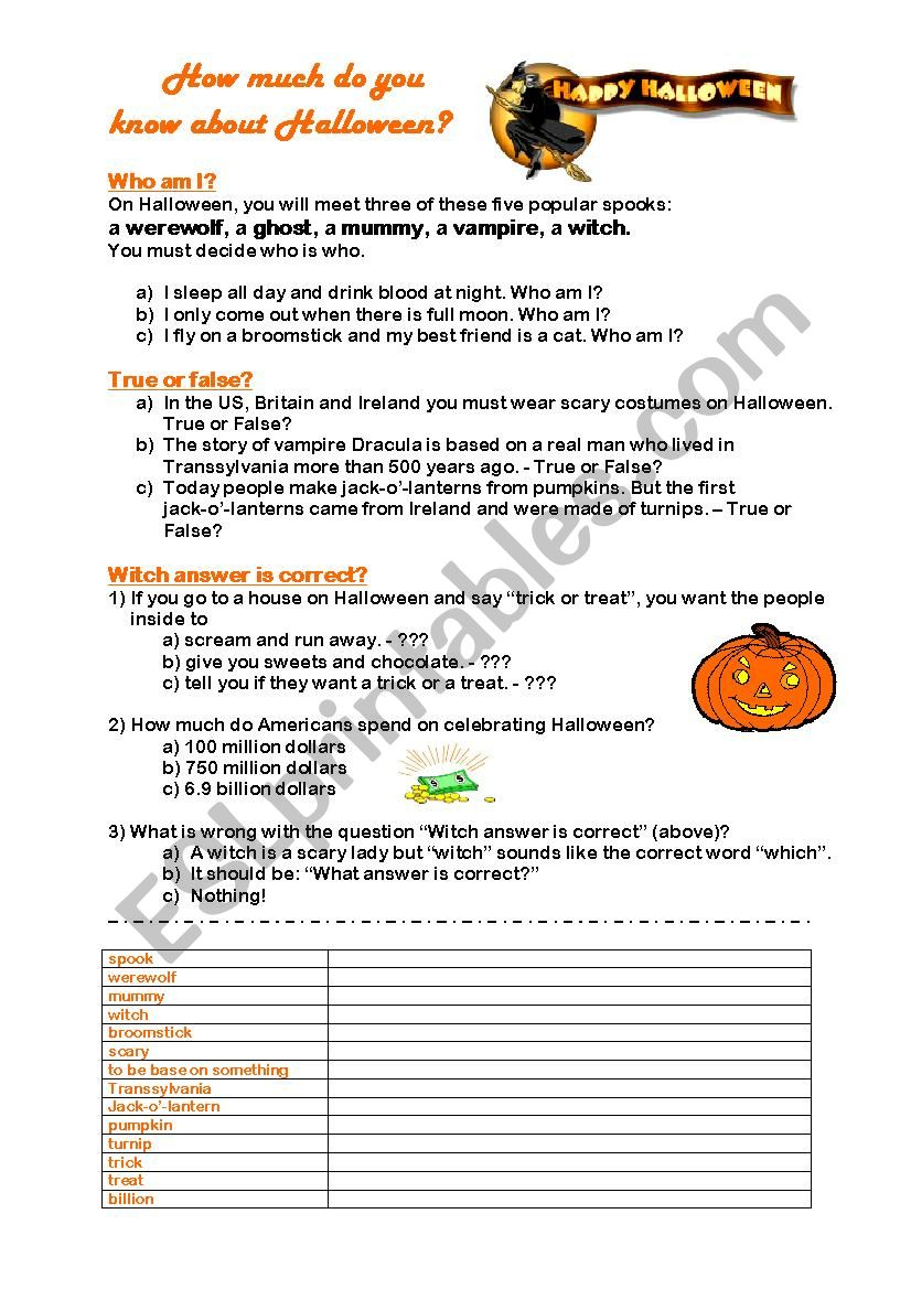 How Much Do You Know About Halloween? - Esl Worksheetr