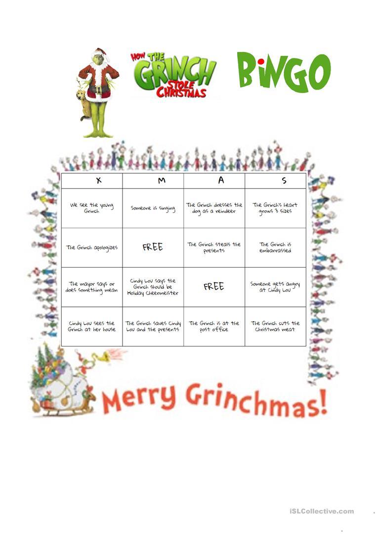 How The Grinch Stole Christmas (2000 Film) Bingo - English