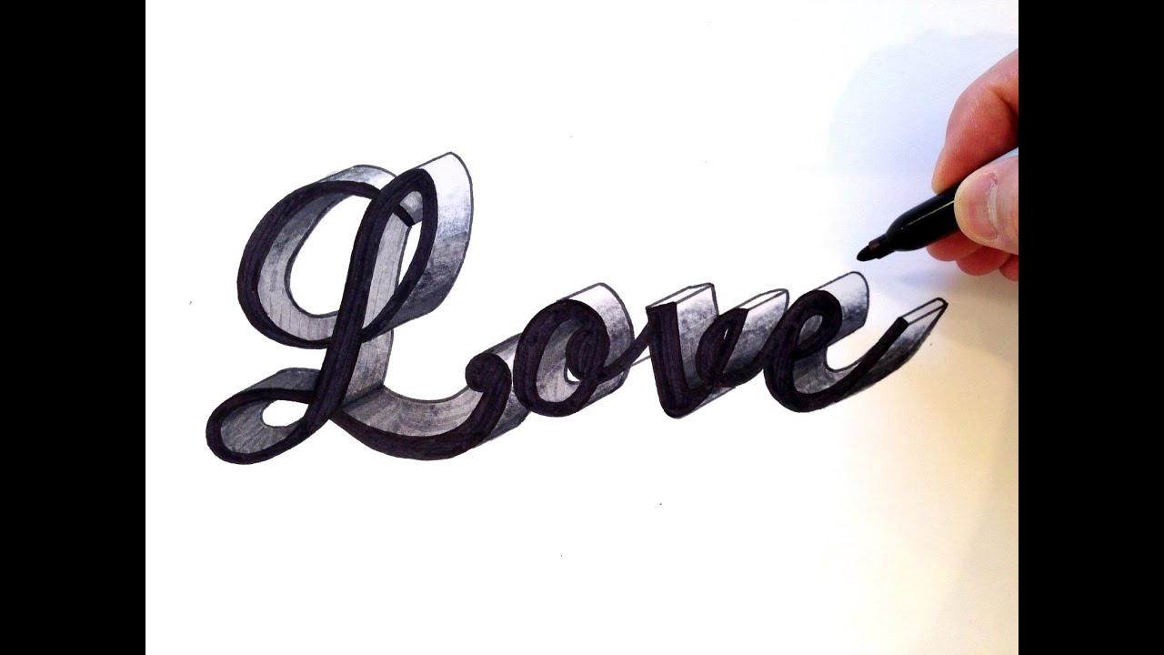 How To Draw Love In Cursive 3D
