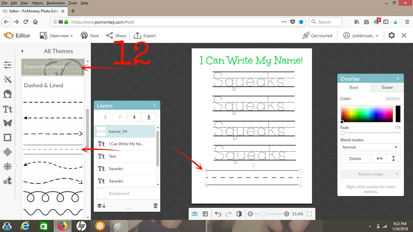 How To Make A Customized Name Tracing Sheet - Arrows in Name Tracing Software