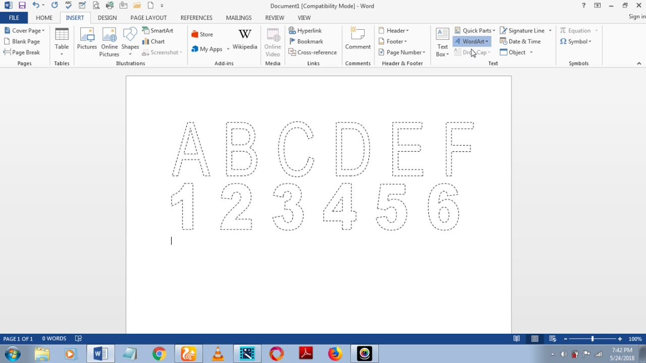 How To Make Dashed Letters And Number Tracing In Microsoft Word 2013 Using Wordart in Name Tracing Microsoft Word