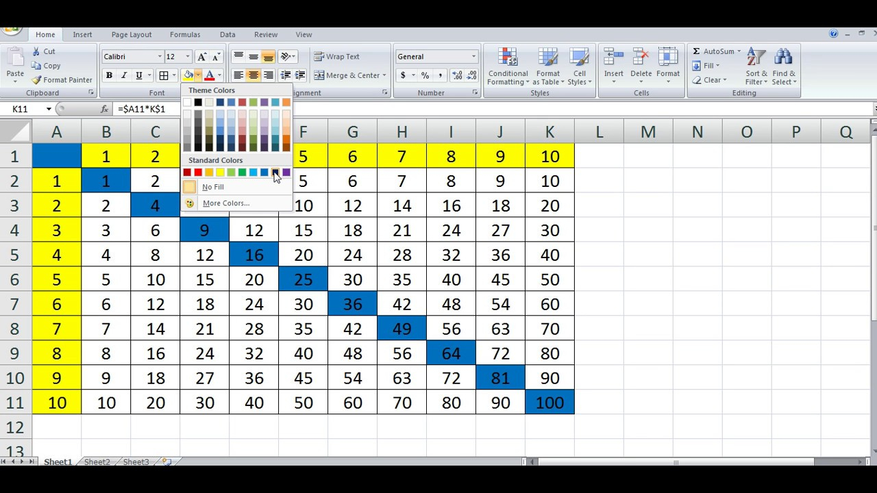 How To Quickly Create Multiplication Table In Ms Excel ****
