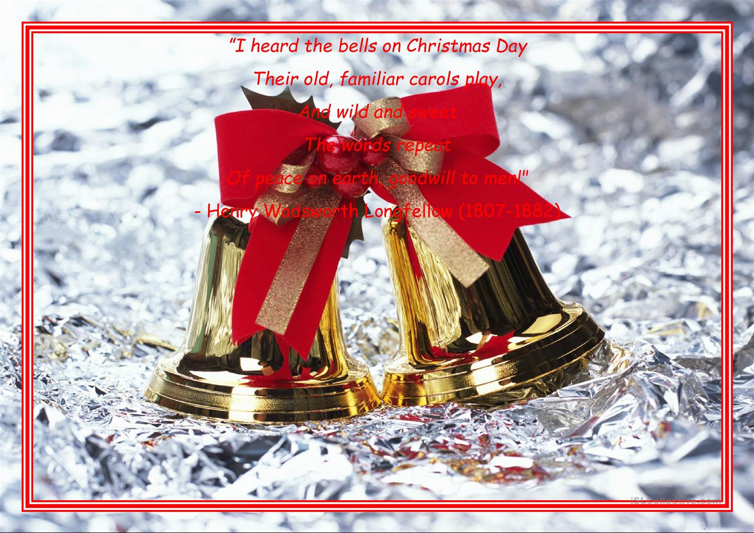 I Heard The Christmas Bell  - English Esl Worksheets For