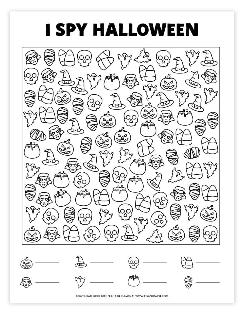 I Spy Halloween | Free Printable Game - Pjs And Paint