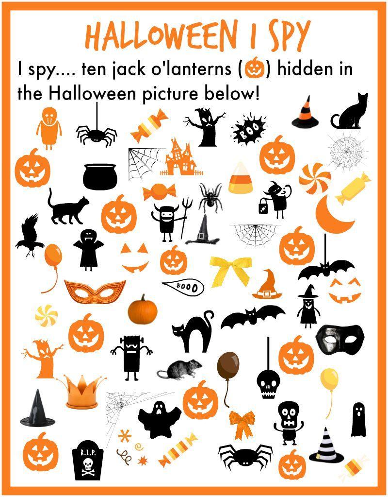 I Spy Halloween Printable. Find 10 Pumpkins Hidden In The