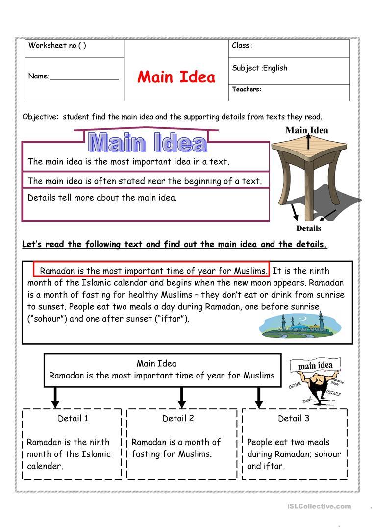 Identifying Main Idea English Esl Worksheets For Distance