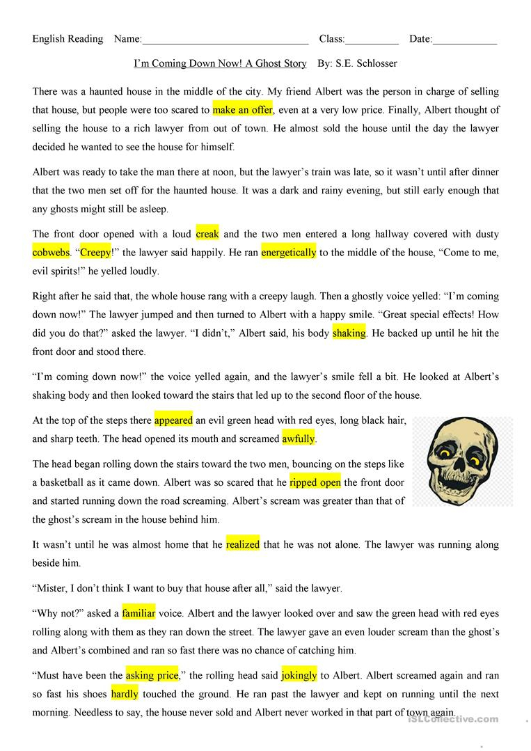 I'm Coming Down Now: A Halloween Ghost Story - English Esl