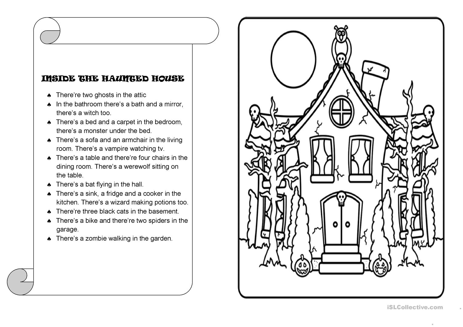 Inside The Haunted House - English Esl Worksheets For