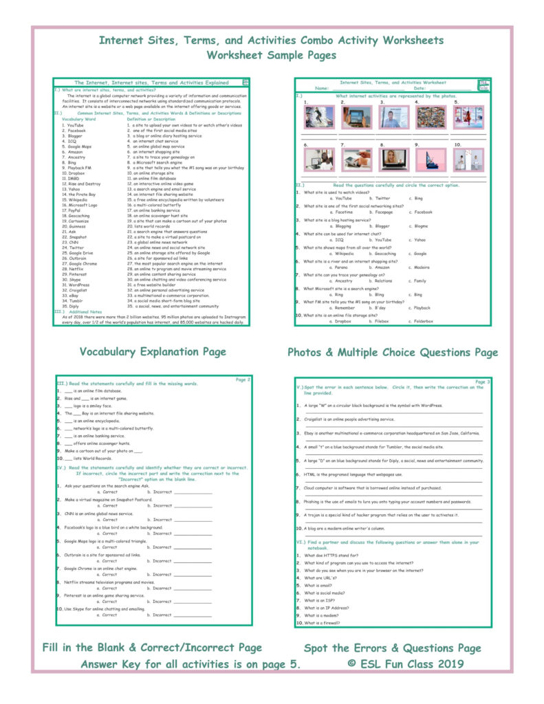 Internet Sites, Terms, And Activities Combo Activity Worksheets