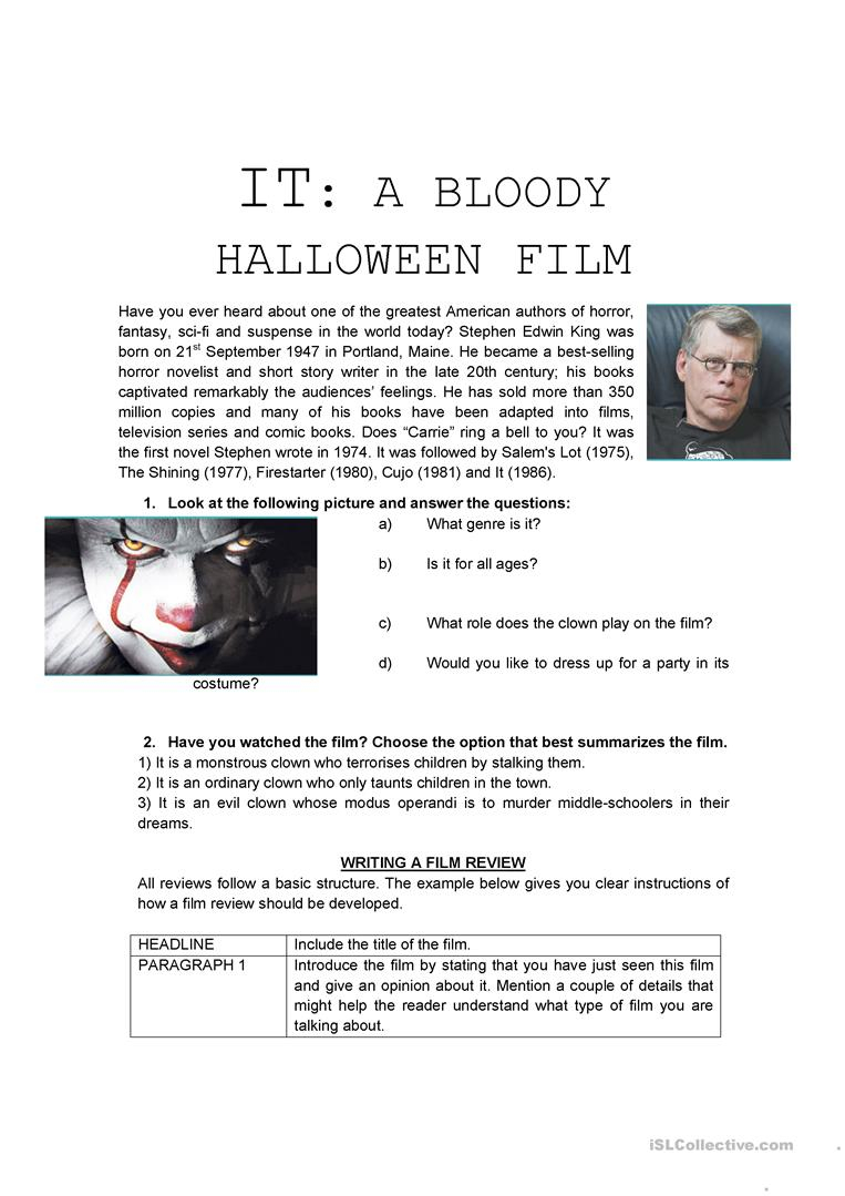 It - Film Review - Halloween - English Esl Worksheets For