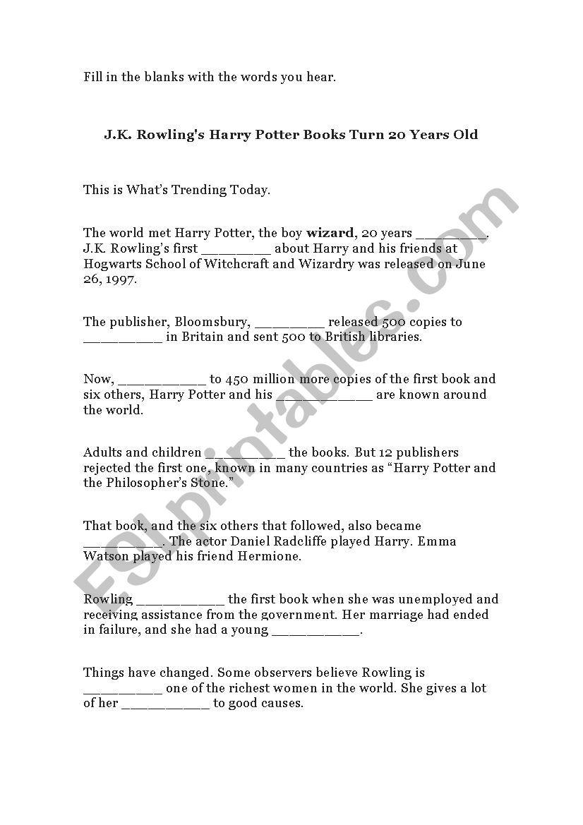 J. K. Rowling´s Harry Potter Books Turn 20 Years Old - Esl