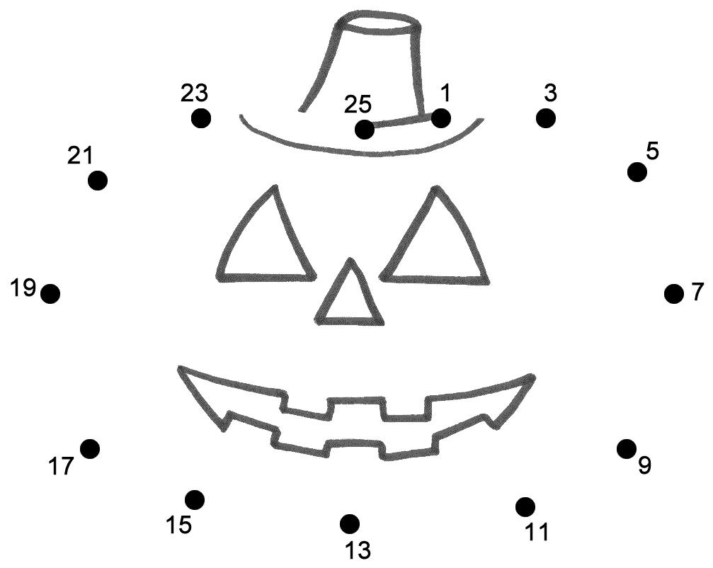 Jack-O' Lantern Dot To Dot. | Halloween Worksheets