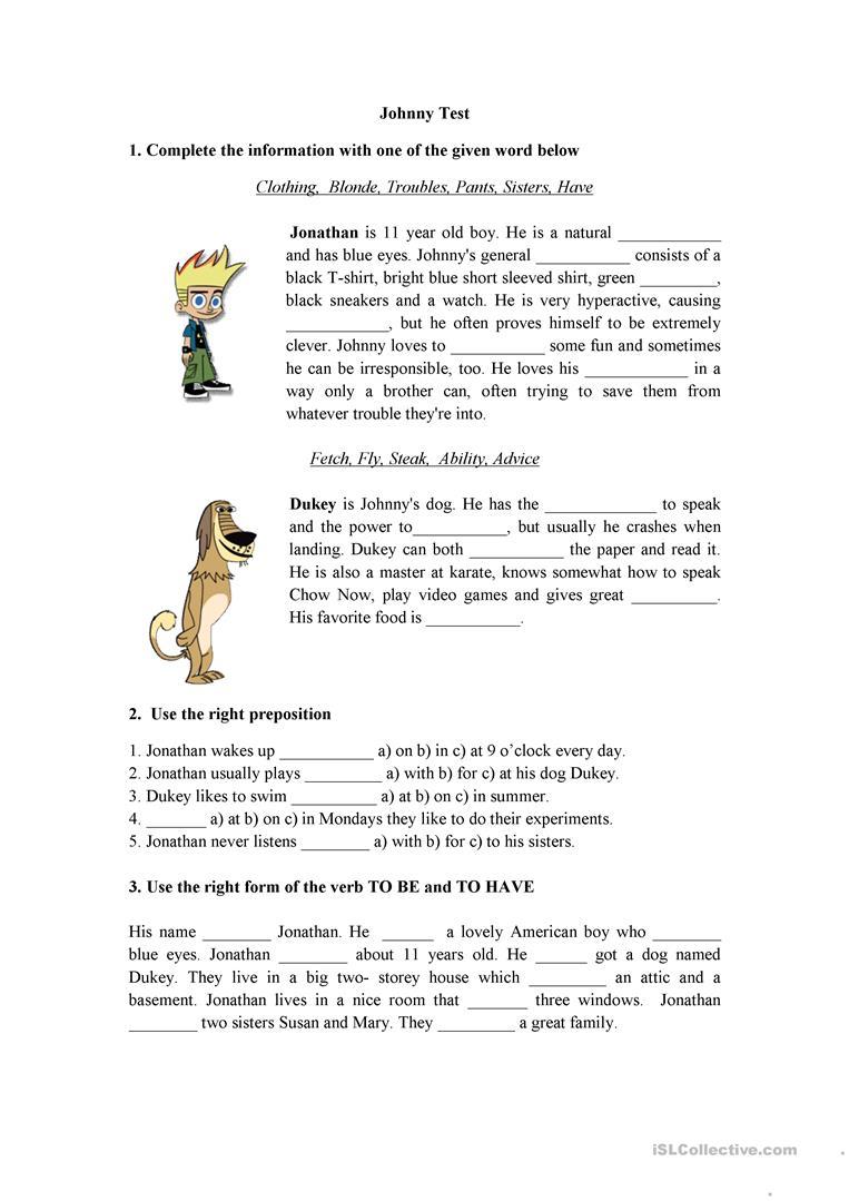 Johnny Test - English Esl Worksheets For Distance Learning