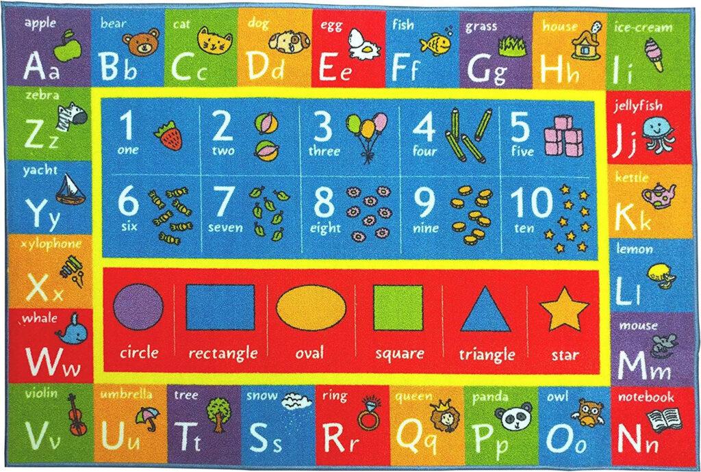 Kids Abc Numbers Shapes Classroom Area Rug | Area Rugs, Rugs