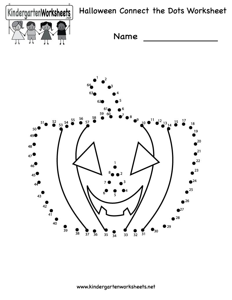 Kindergarten Halloween Connect The Dots Worksheet Printable