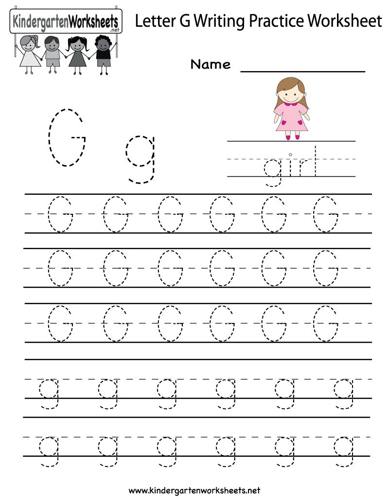 Kindergarten Letter G Writing Practice Worksheet Printable inside G Letter Tracing