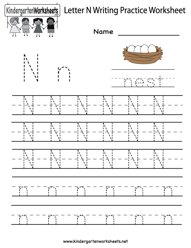 Kindergarten Letter N Writing Practice Worksheet Printable intended for N Letter Tracing