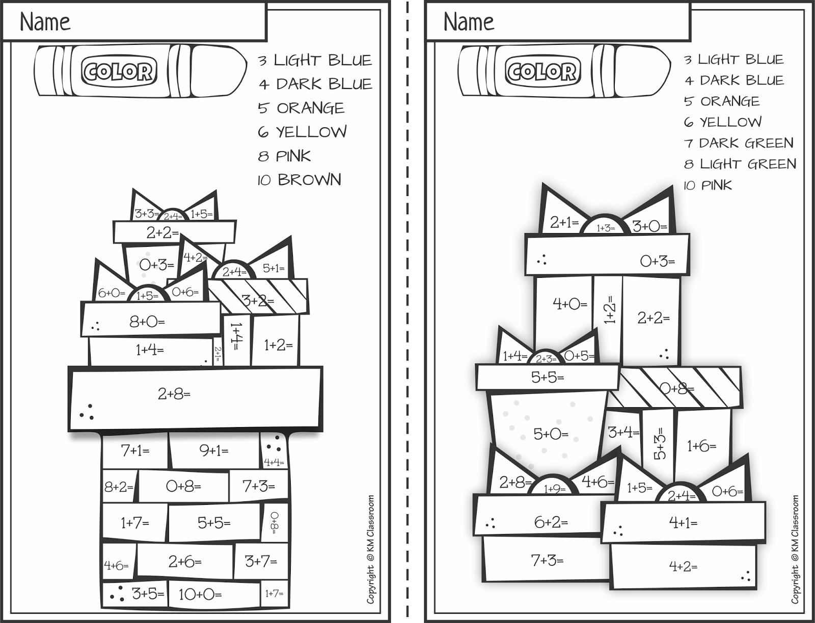 Km Classroom: Free Christmas Colornumber Addition Within 10