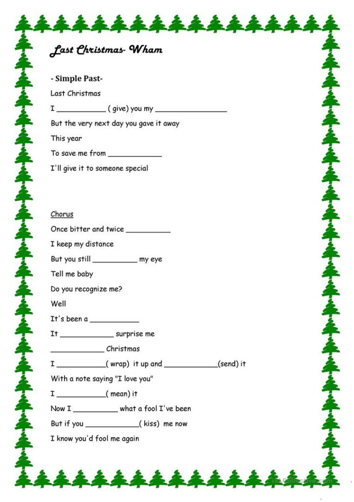 Last Christmas  Simple Past Exercise   English Esl