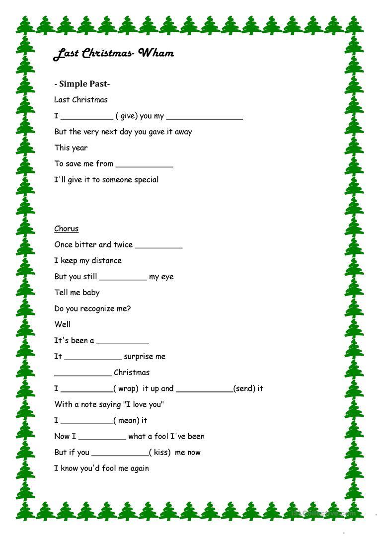 Last Christmas- Simple Past Exercise - English Esl