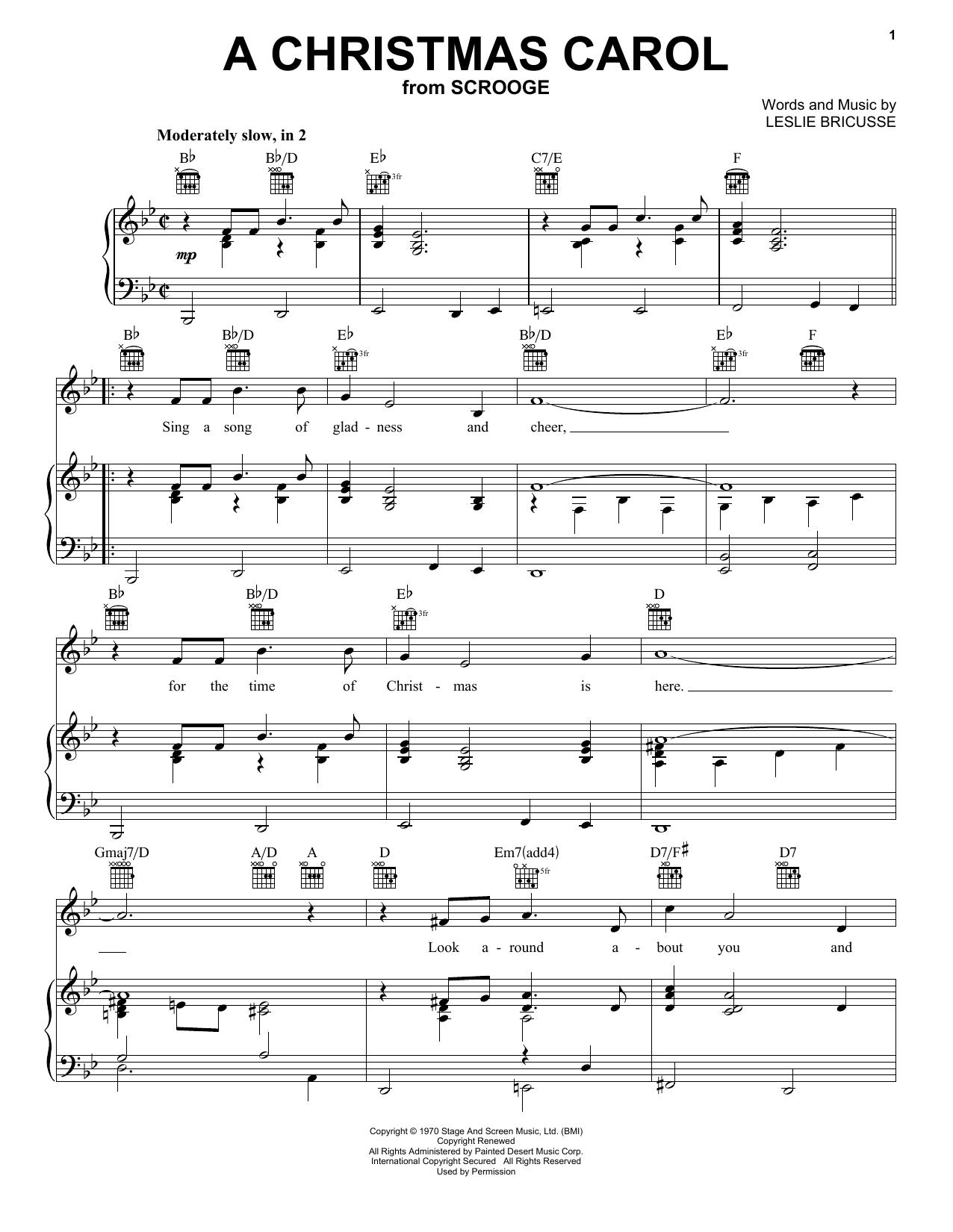 Leslie Bricusse 'a Christmas Carol' Sheet Music Notes, Chords | Download  Printable Piano, Vocal & Guitar (Right-Hand Melody) - Sku: 160834