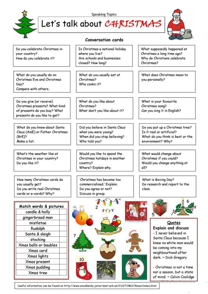 Let's Talk About Christmas   English Esl Worksheets For