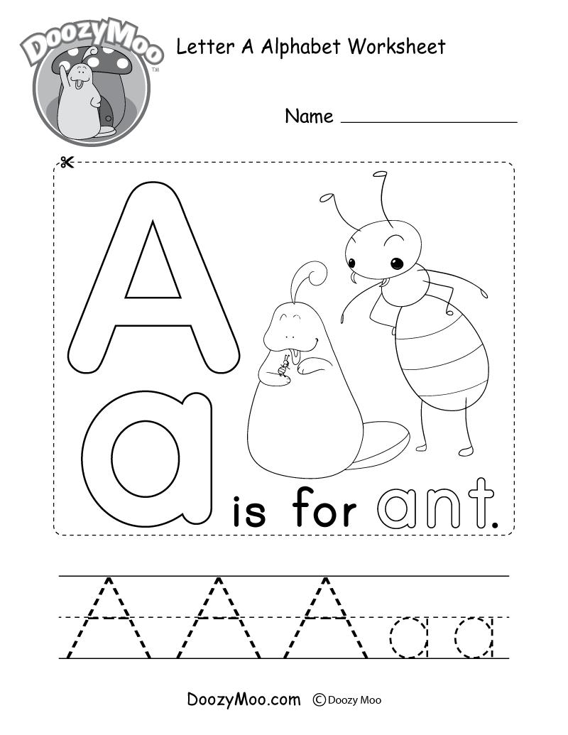 Letter A Alphabet Activity Worksheet - Doozy Moo intended for Alphabet Book Worksheets