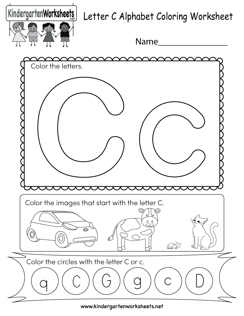 Letter C Coloring Worksheet - Free Kindergarten English for Alphabet Worksheets Letter C
