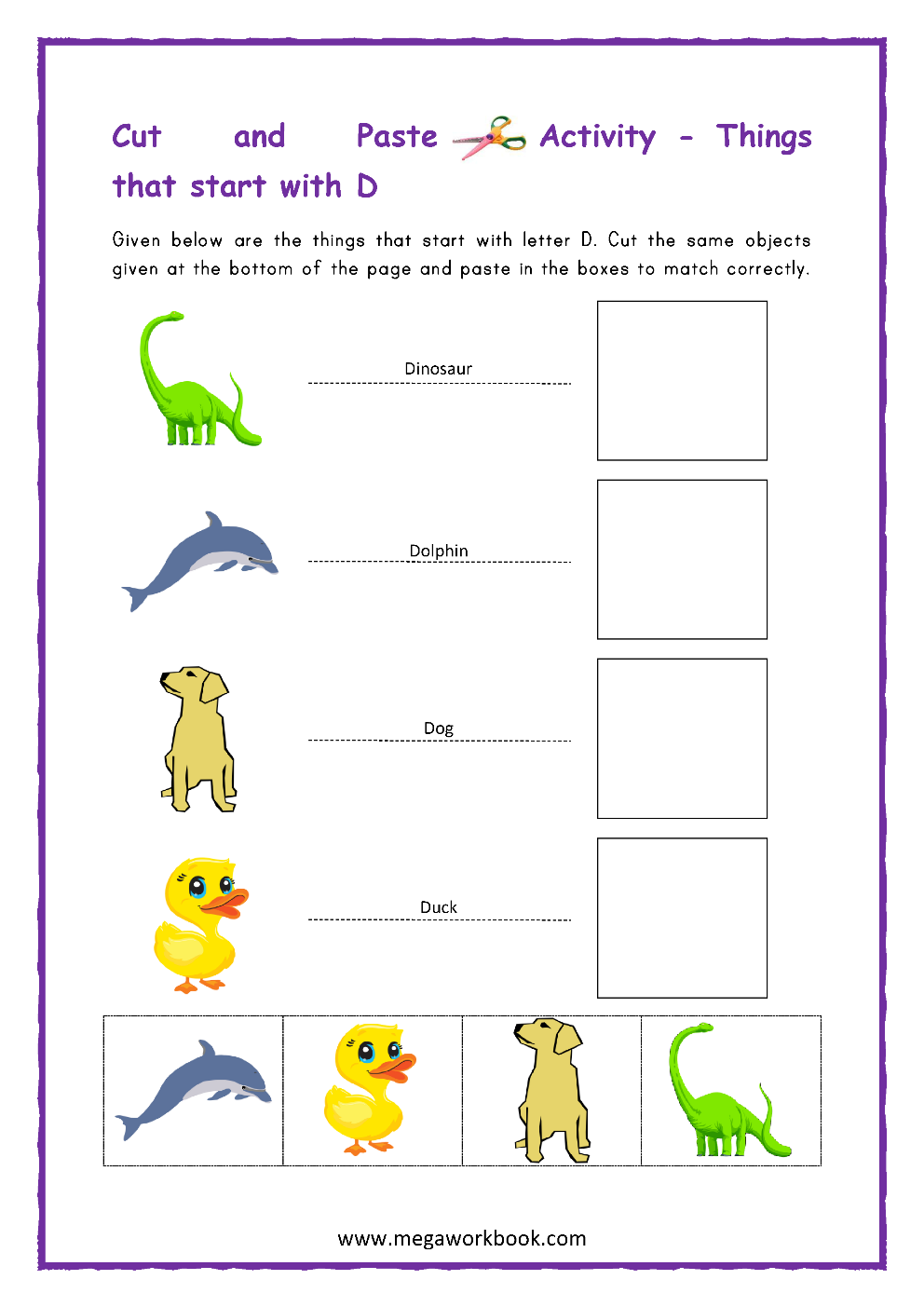 Letter D Activities - Letter D Worksheets - Letter D regarding Letter D Worksheets Cut And Paste