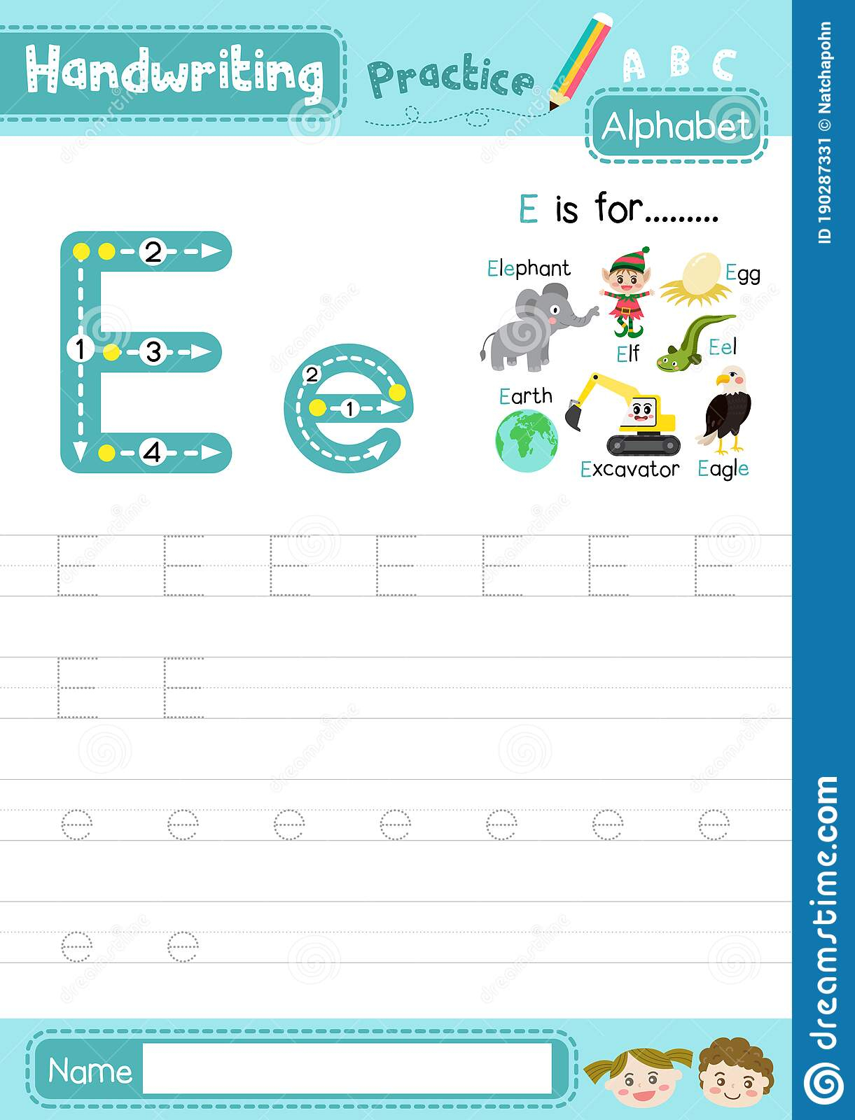 Letter E Uppercase And Lowercase Tracing Practice Worksheet intended for Letter E Tracing Page